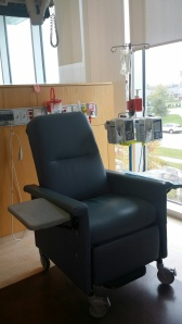 One of the stations for chemotherapy at our local hospital.  Lots of windows and natural light.